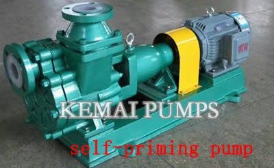 Lined self-priming chemical pump